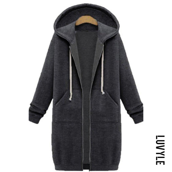 Dark Grey Fashion Long Sleeve Loose Hoodie Coat Dark Grey Fashion Long Sleeve Loose Hoodie Coat