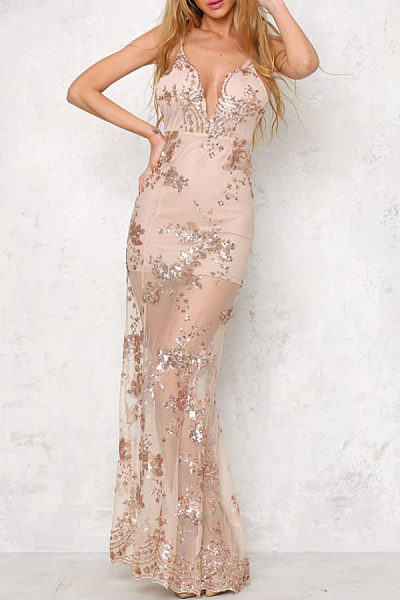 Spaghetti Strap  Patchwork See Through  Glitter Party Dresses