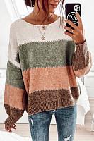 Color Block Lantern Sleeve Sweater