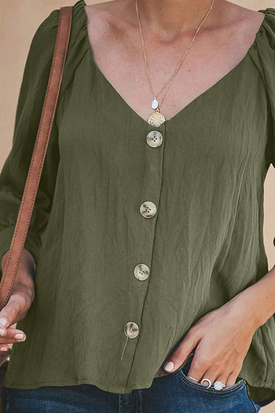 Sexy V Collar Seven Sleeve Blouses