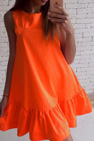 Round Neck  Flounce  Plain  Sleeveless Casual Dresses