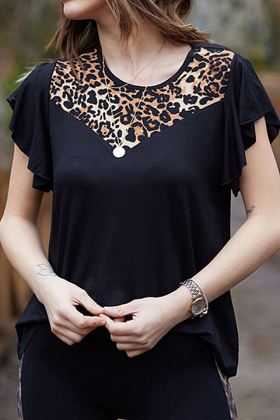 Sexy Leopard Print Stitched Short Sleeved T Shirt
