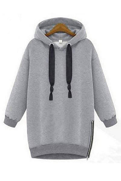 Casual Plain Zip Long Sleeve Hoody