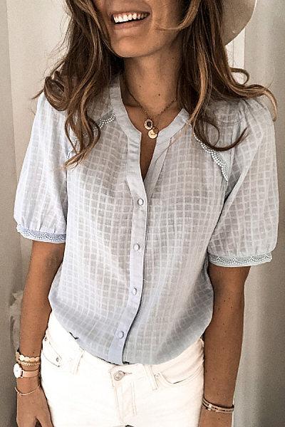 Fashion Stitching Short Sleeve Cardigan