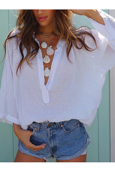 V Neck Loose Casual Long Sleeved Blouses