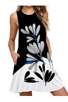 Round Neck Basic Beach Printed Shift Dress