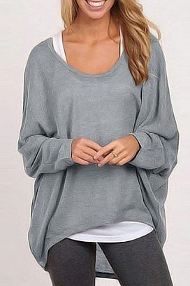 2a0e5bdc92a round neck asymmetric hem plain batwing sleeve sweaters