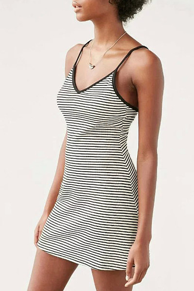 White Black Street Stripes Shift Casual Dress
