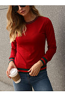 Round Neck  Striped  Sweatshirts