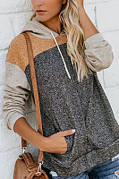 Hooded  Drawstring  Patchwork Hoodies
