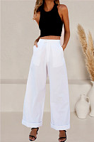 Solid color casual loose wide leg pants casual pants