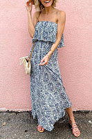 Breast Collar Printed Maxi Dress