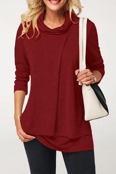 Heap Collar Fake Two-Piece Plain T-Shirt