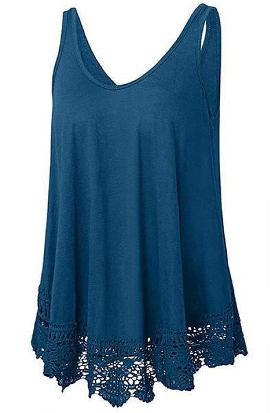 Round Neck Patchwork Lace Sleeveless T-shirt