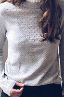 Casual Stand Collar Grey Knit Ladies Sweatshirts