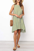 Round Neck  Asymmetric Hem  Dot  Sleeveless Casual Dresses