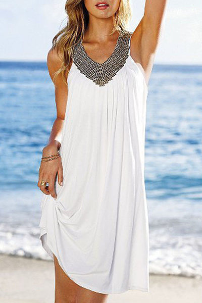 V Neck  Beading  Patchwork Casual Dresses