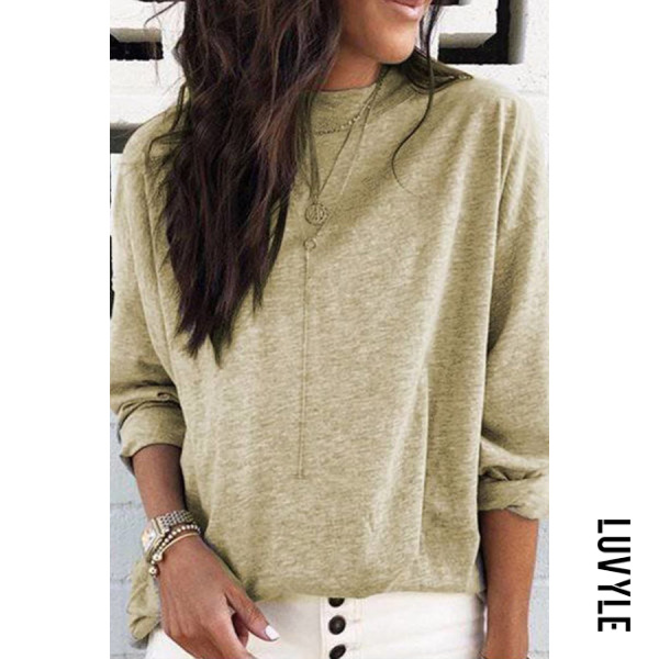 Khaki Round Neck Loose-Fitting Casual T-Shirt Khaki Round Neck Loose-Fitting Casual T-Shirt