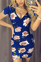 Deep V Neck  Floral Printed  Short Sleeve Bodycon Dresses