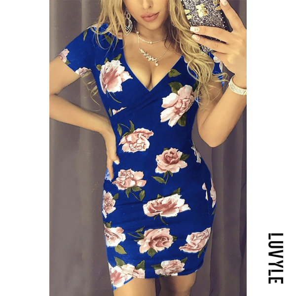 Blue Deep V Neck Floral Printed Short Sleeve Bodycon Dresses Blue Deep V Neck Floral Printed Short Sleeve Bodycon Dresses