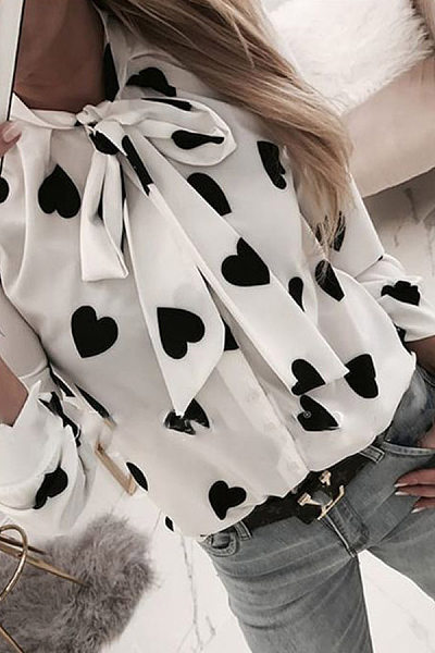 Casual long-sleeved tie collar heart printing shirt