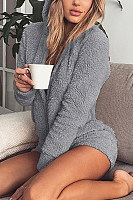 Hooded  Plain  Long Sleeve  Playsuits