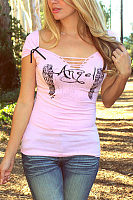 Deep V Neck  Hollow Out Plain Printed T-Shirts