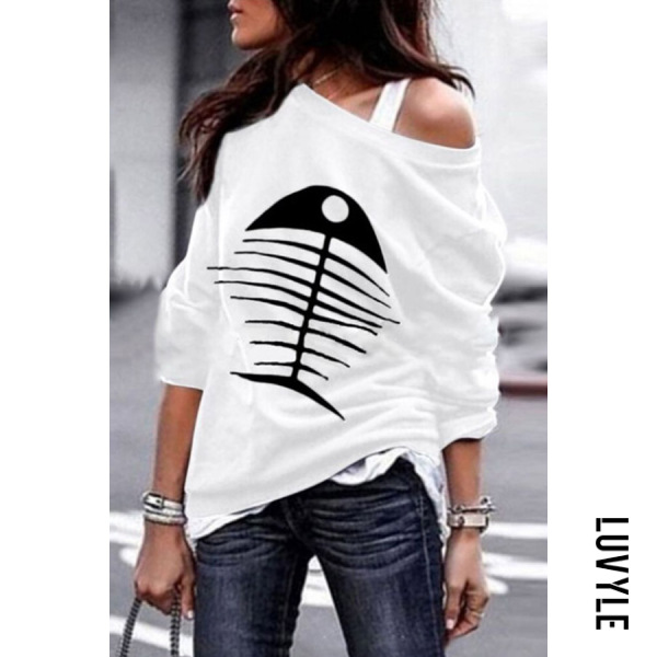 White Casual Colouring Long Sleeve T-Shirt White Casual Colouring Long Sleeve T-Shirt