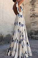 Sexy Sleeveless Floral Print Maxi Dress