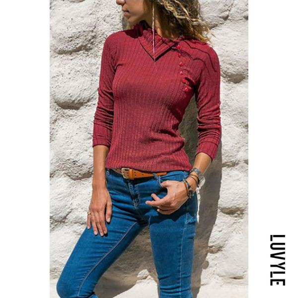 Red Asymmetrical Collar Button Long Sleeve Plain Knitting T-Shirts Red Asymmetrical Collar Button Long Sleeve Plain Knitting T-Shirts