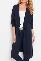 Plain Long Sleeve Asymmetrical Collar Cardigans