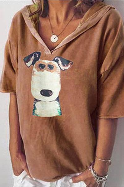 Loose Cartoon Dog Print T-Shirt