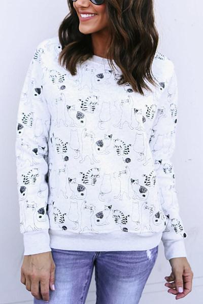 Christmas Printed Round Neck Sweatshirt