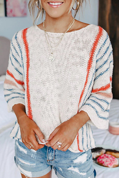 Coloring Striped Lantern Sleeve Sweater