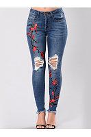 Distressed Embroidery Raw-Hem Slim-Leg Jeans