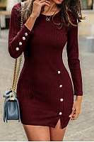 Round Neck Decorative Buttons Bodycon Dress
