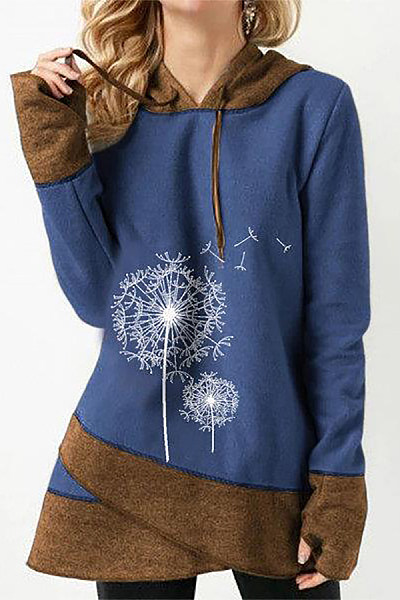 Casual Long Sleeve Colouring Printed Hoody