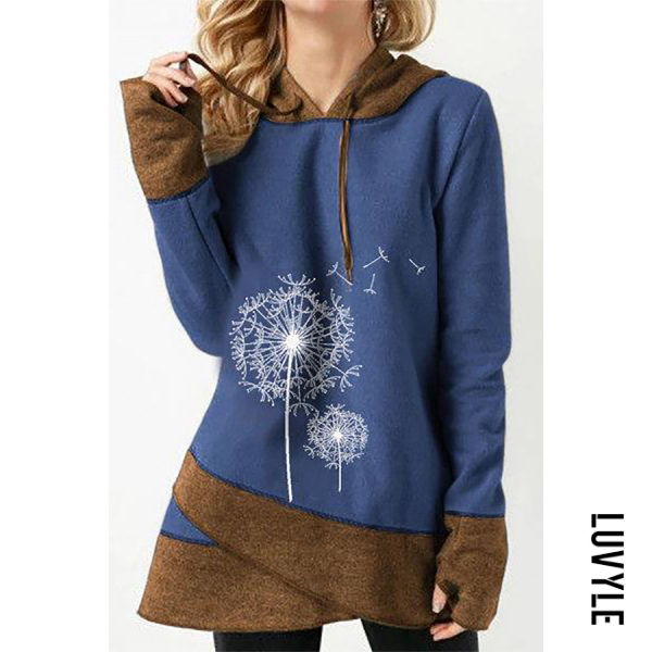 Brown Casual Long Sleeve Colouring Printed Hoody Brown Casual Long Sleeve Colouring Printed Hoody