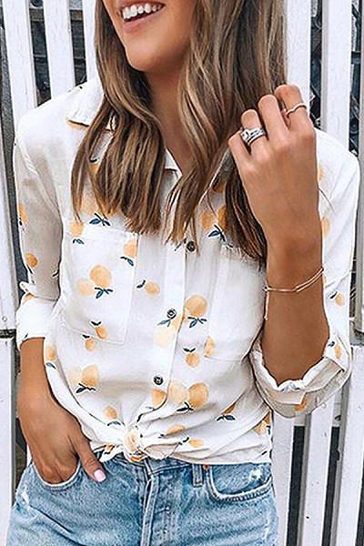 Casual Folded Collar Single Breasted Fruit Print Long Sleeve Shirt