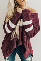 Casual V Neck Long Sleeve Colouring Sweater