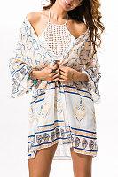 Chiffon Snap Front Printed Kimono