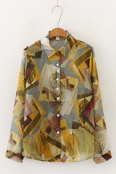 Ladies A Lapel Long Sleeve Printed Blouse