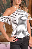 Halter  Backless  Striped  Blouses