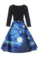 V-Neck Starry Night Printed Belt Skater Dress
