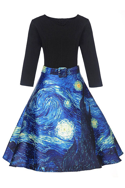 V-Neck Starry Night Printed Belt Skater Dress