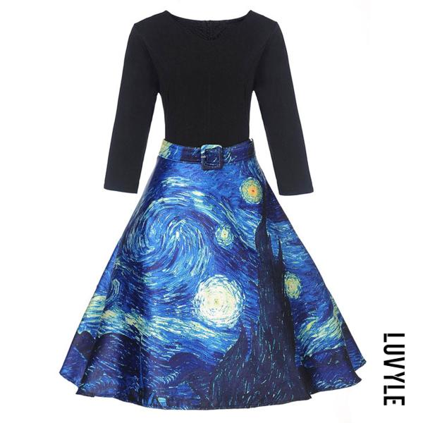 Blue V-Neck Starry Night Printed Belt Skater Dress Blue V-Neck Starry Night Printed Belt Skater Dress