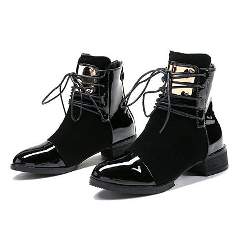 Ankle Back zipper Flat Round Toe Boots