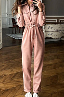 Fold Over Collar  Plain  Long Sleeve Jumpsuits