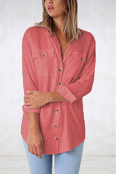 Women Fashion Solid Color Single-breasted Shirt