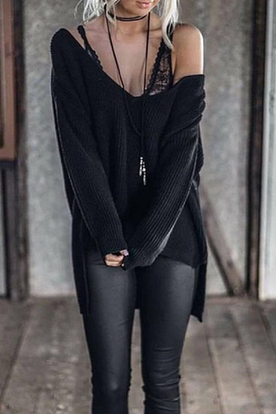 One Shoulder  Asymmetric Hem  Plain  Batwing Sleeve Sweaters